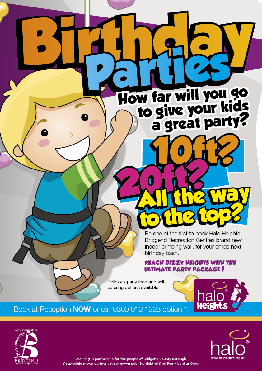 Halo heights birthday party poster